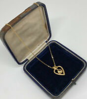 Vintage Necklace & Heart Pendant Gold Tone Collar Length Pretty Dainty Costume