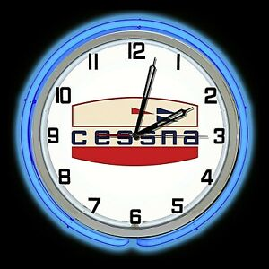 """19"""" Cessna Aircraft Early Logo Sign Blue Double Neon Clock Airplane Hanger"""