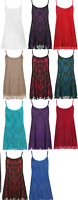 Womens Ladies Plus Size Floral Lace Chiffon Sheer Lined Strappy Sleeveless Swing