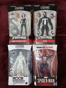 Marvel Legends Lot Of 4 Spider Gwen, Venom, Moon Knight, Ps4 Spiderman