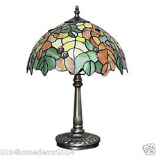 Vintage Tiffany Leaf Table Light Lamps Desk Lamp Stained Glass Book Lighting