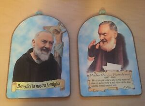 2 x Small Wooden Padre Pio Hanging Wall Plaques