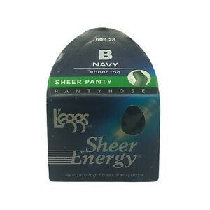 Leggs Sheer Energy Pantyhose Navy Size B Sheer Toe Panty Hosiery