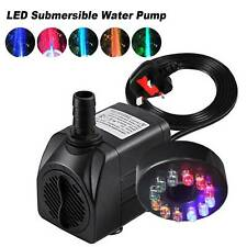Electric Submersible Water Fountain Pump With 12LED Light Pond Garden Pool UK