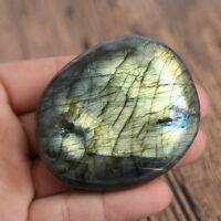Large Tumbled Oviform Stone Labradorite Quartz Crystal Healing Palm Paperweight