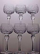 VINTAGE LEAD CRYSTAL CUT GLASS TALL HOCK WINE GLASSES SET OF 6-16.3 CM TALL