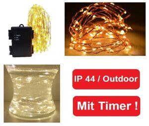 LED Draht Lichterkette Timer Batterie Drahtlichterkette außen warmweiß Outdoor