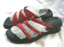 Clarks Women's Shoes Sandals Slides Red Leather Nubuck Comfort Casual  8M