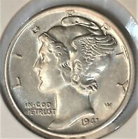 1941 P Mercury Dime Almost Uncirculated 90% Silver Coin AU / BU