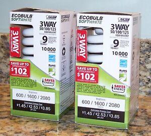 2 FEIT Electric Ecobulb 3-Way CFL Soft White Light Bulbs 50/100/125, ESL50/150T