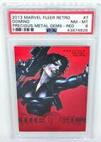 2013 Marvel Fleer Retro Metal - Precious Metal Gems Red #7 Domino PSA NM-MT 8