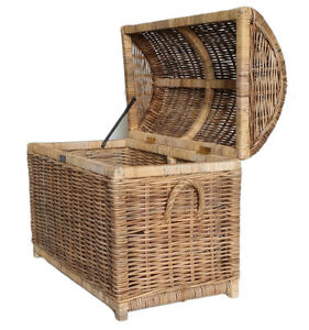 Rattan Pirate Storage Toy Basket Trunk Wooden Inner Frame High End Quality
