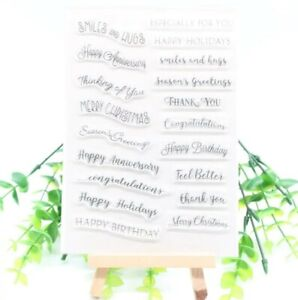 Clear Stamps Greetings Wishes Words Valentines Birthday Wedding