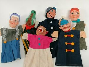 Punch & Judy Puppets X5 Policemen Wolf Grandma Vintage Village Fair Crocodile