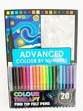 Advanced Colour By Numbers Adult Colouring Book Colour Therapy & Felt Pens