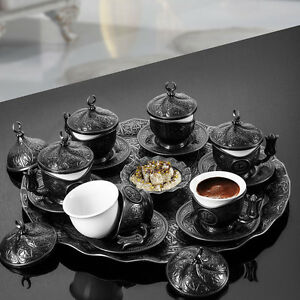 Authentic Solid Copper Turkish Coffee Tea Espresso Serving Set for 6 people