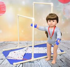 Gymnastics Uneven Bars for American Girl Doll or 18 inch doll w/ mat & carry bag