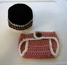 Newborn Baby--Pink/Black--Beanie/Hat and Diaper Cover Set--Hand Crochet--OOAK