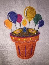 Embroidered White Bathroom Hand Towel- Flower Pot Cupcake  w Birthday Candle