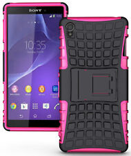PINK GRENADE GRIP RUGGED TPU SKIN HARD CASE COVER STAND FOR SONY XPERIA Z3 PHONE
