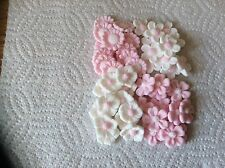 sugar paste 48 mixed pale pink white flower cake toppers birthday Anniversary