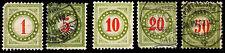 1884-97 SWITZERLAND #J21 & J23-26 POSTAGE DUE - USED - F/VF+ - $15.80 (ESP#2102)