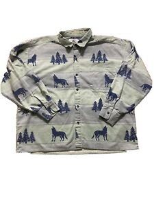 True Grit Men Size L Shirt Wolf Print Flannel Button Up Shirt Long Sleeve USA