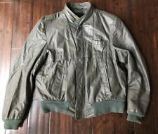 Vintage Distressed Leather Motorcycle Racer Jacket Grey 42 Medium To Large