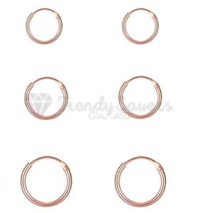 18ct Rose Gold Plated Genuine S925 Sterling Silver Nose Hoop Sleeper Earrings