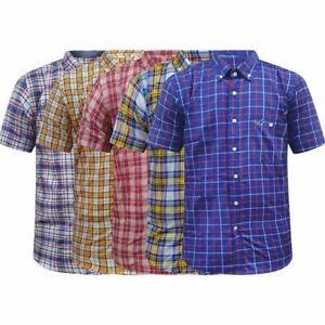 Mens Kangol Short Sleeve Check Shirt Casual Check Holiday Summer Work Shirt Top