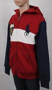 Children POLO Ralph Lauren Red White Navy Blue Striped Big Pony Hoodie NWT $60