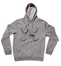 Fourstar Skateboards Clothing Pirate Broken Skull Men's Hoody Sweatshirt Grey L