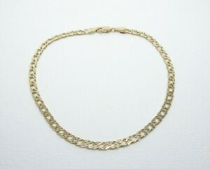 9ct Gold Bracelet Double Curb Link Anklet Hallmarked 9 1/4'' with gift box