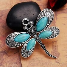 Dragonfly Pendant - Antiqued Silver And Imitation Turquoise C1160 - 1, 2 Or 5PCs