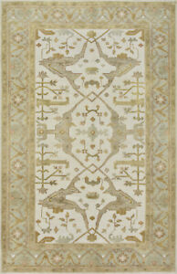 Oushak Rug, 5'x8', Ivory/Green, Hand-Knotted Wool Pile