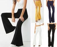 Women's Basic Flare Leg Stretch Pants Long High Waist Bell Bottom Yoga Casual