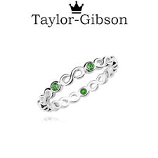 925 Sterling Silver Infinity Ring Emerald Green May Size H I J K L M N O P Q R S