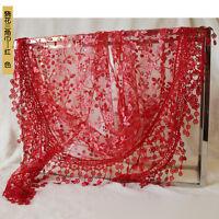 Women Flower Floral Print Lace Hollow Neck Wrap Tassel Long Scarf Triangle Shawl