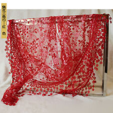 Stylish Lady Lace Hollow Shawl Neck Soft Wrap Tassel Floral Print Triangle Scarf