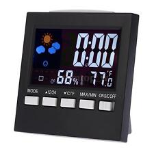 Digital Color LCD Weather Station Forecast Thermometer Alarm Clock Calendar E6I9