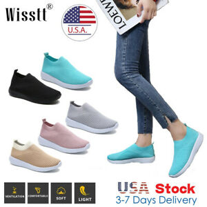Womens Mesh Sneakers Elastic NDGDA Ladies Breathablel Lightweight Casual Socks Shoes Student Running Shoes