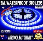 Waterproof Blue LED Strip Light 12V 5M 3528 SMD 300 Leds Lights + Free Dimmer
