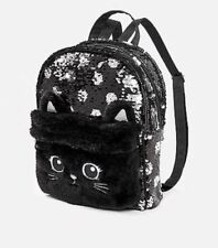 Justice Girl's Flip Sequin Black Kitty Cat Mini Backpack Purse NEW