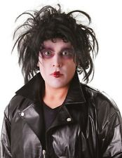 Adult Mens Crazy Cutter Halloween Black Fancy Dress Costume Outfit Wig