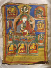 'Tibetan' Thangka Religious Icon. Naive style. Hand-painted in Nepal. c1979.