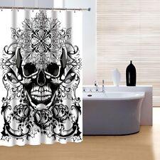 Beautiful Black & White Skull Shower Curtain Bathroom Decor