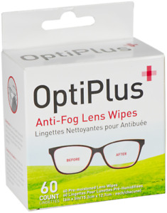 OptiPlus Anti-Fog Lens Wipes Cleaner Travel Purse Healthcare Sports Goggles 60ct
