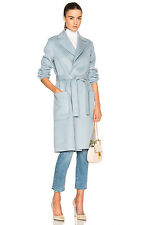 Gorgeous! NEW! Helmut Lang Wool Cashmere Belted Blue Coat sz Large $1,195!!!