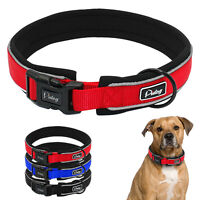Reflective Thick Wide Nylon Big Dog Collars For Medium Large X-Large Dogs