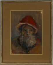 Richmond - 1975 Oil, Portrait of a Man in a Red Hat